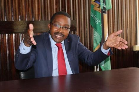 Murang'a Governor Mwangi wa Iria speaking during a press conference