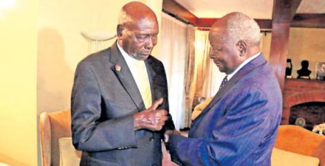 The late Daniel Arap Moi and Mwai Kibaki