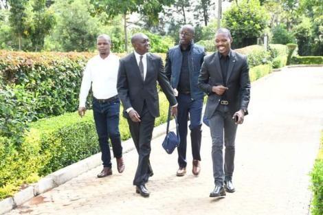 Kapseret MP Oscar Sudi flanked by Raila Odinga junior on Wednesday, May 26