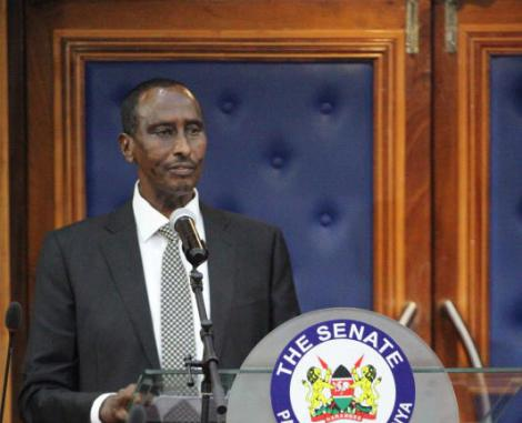 Wajir Governor Mohamed Abdi during his impeachment debate at Senate Chambers on Wednesday, May 12.