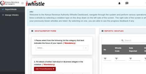 A screenshot showing KRA's iWhistle platform