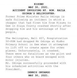 Breaking News: Raila's Chopper crash in Siaya, Injuries reported