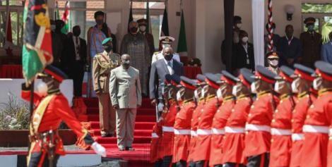 President Uhuru Kenyatta (in black suit) and his Burundi counterpart Evariste Ndayishimiye at Kisumu State Lodge on Monday, May 31, 2021.