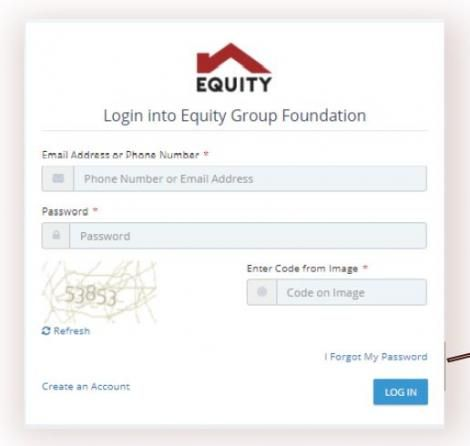 The Elimu Scholarship 2021 application Log-in page