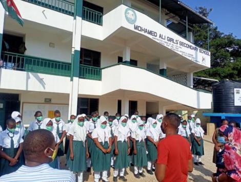 Nyali MP Mohammed Ali (Moha Jicho pevu) visits a school in Nyali on Friday, May 21.