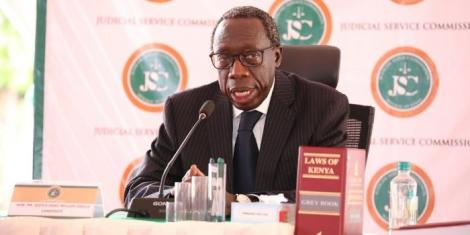 Justice Edward Ouko appearing before the Judiciary Service Commission (JSC) on Wednesday, April 21.