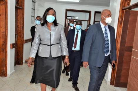 New Nairobi acting Governor Anne Kananu Mwenda (left) and NMS boss Mohammed Badi.