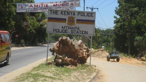 Mtwapa Police Station directional signage.