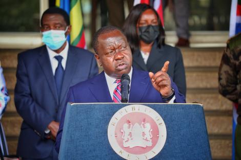 Interior CS Dr. Fred Matiang'i addressing the press on Wednesday March, 26