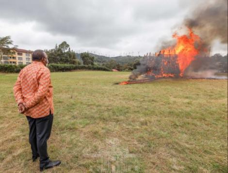 President Uhuru Kenyatta watches as 5,144 guns go up in flames at the Regional Police Traffic Training Centre in Ngong, Kajiado County.