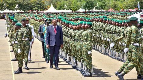 President Uhuru Kenyatta inspects a National Youth Service parade in Gilgil on December 6, 2019.
