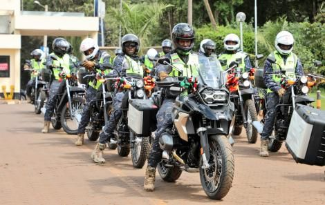 Anti-Terror Police Unit Officers on some of the motorbikes donated by the German Embassy at the DCI Headquarters in Kiambu on June 22.