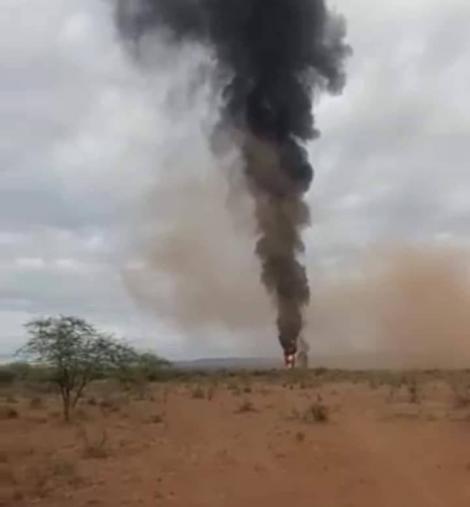 The scene where a KDF chopper crashed on Thursday, June 24, in Kajiado