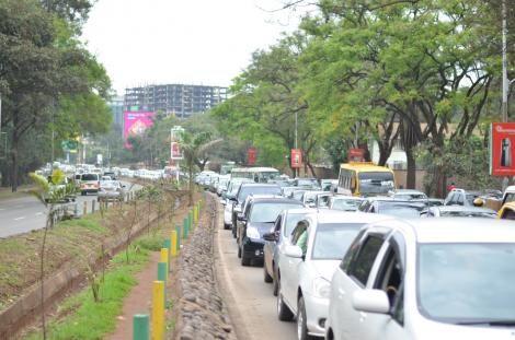 Motorists on a Rush- Hour Traffic Jam Along Busy Uhuru Highway in Nairobi. On October 17, 2019