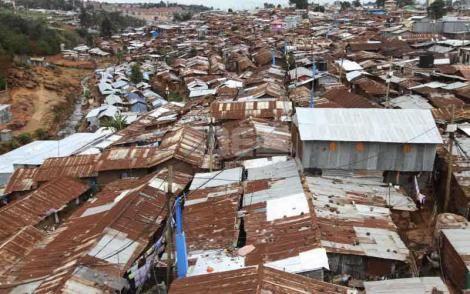 An aerial view of Kibra slum in Nairobi, Kenya.