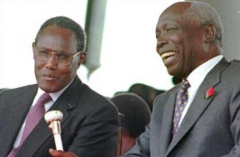 An undated image of former President Daniel Moi (right) and former Vice President George Saitoti.