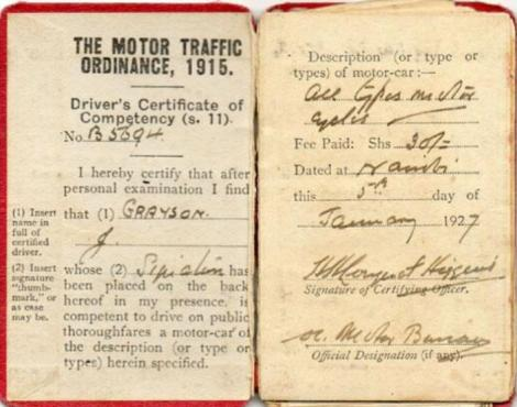 The first generation copy of driving licenses