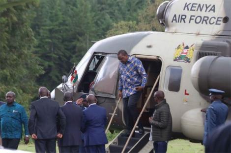 President Uhuru Kenyatta arrives at Sagana State Lodge in Nyeri for a meeting on November 15, 2019.