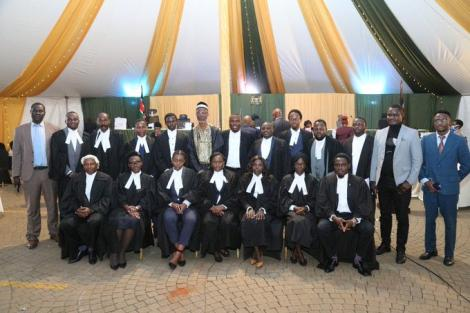 Lawyers against the BBI at the Court of Appeal on Friday, July 2. Christian Andole is standing fourth left.