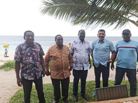 From left: James Orengo, Francis Atwoli, Raila Odinga, Nassir Abdullswamad Sheriff and Otiende Omollo pose for a photo