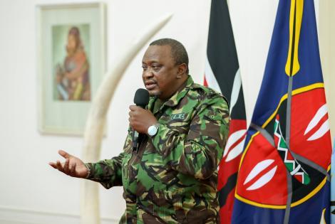 President Uhuru Kenyatta addresses journalists after commissioning hospitals on Tuesday night, July 6.