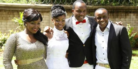 Abel Mutua and his wife (centre) with the best couple on their wedding day