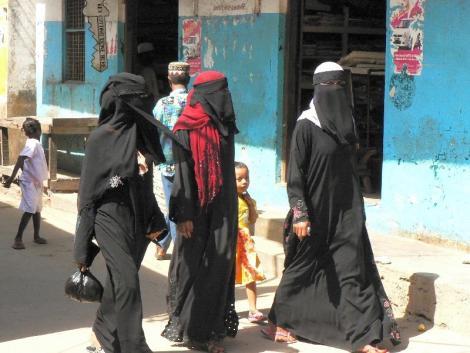 Undated image of Muslim women in Lamu Town