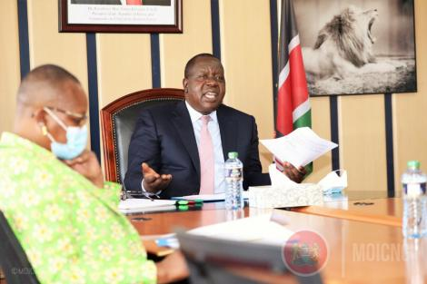 Interior CS Fred Matiang'i with ministry officials engaged in a virtual meeting with MPs on March 24, 2021