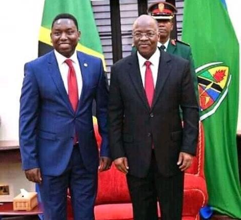 Kenya's High Commissioner to Tanzania, Dan Kazungu Posing with Deceased Magufuli