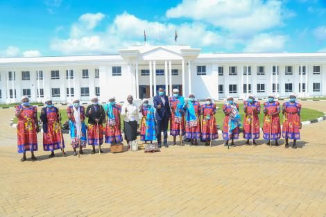 Machakos Governor Alfred Mutua poses alongside village women on Wednesday, July 14.