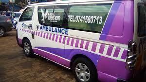 An ambulance belonging to Eagles Nursing Home in Kangemi, Nairobi