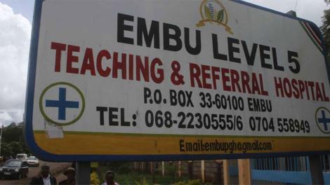 Signpost showing Embu Level 5 hospital