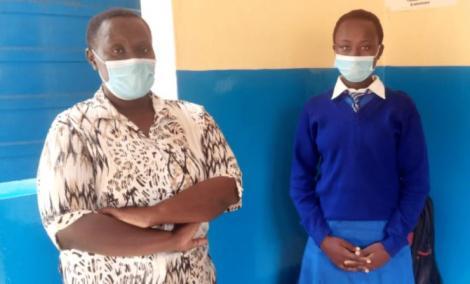 Diana Nyokabi (R) and her mother Priscilla Nyanchera at the Bungoma D.E.B Primary School.