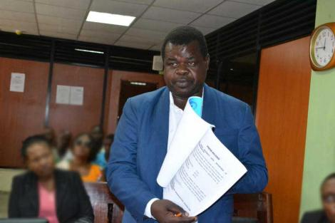 Human Rights Activist Okiya Omtatah during a past court session.