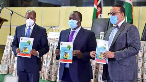 From Left: Cabinet Secretaries Mutahi Kagwe (Health), Fred Matiang'i (Interior) and Najib Balala (Tourism) during the launch of the Tourism and Travel Health and Safety Protocols on July 1, 2020.