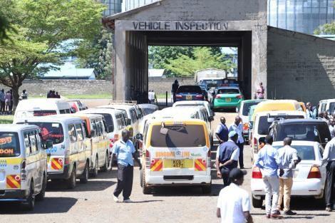Vehicles awaiting inspection at the NTSA centre.
