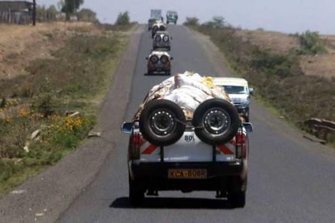 Miraa transport vehicles along the Nyeri-Nanyuki highway on September 8, 2017.