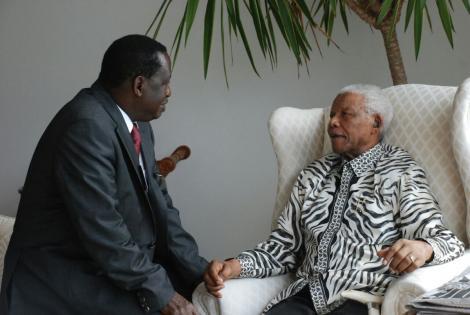ODM leader Raila Odinga with the Late Nelson Mandela.