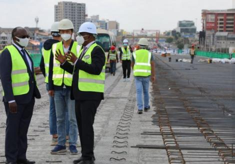 Transport CS James Macharia inspecting the Nairobi Expressway on March 31, 2021