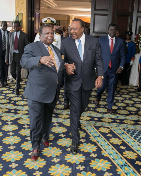 President Uhuru Kenyatta and COTU Sec Gen Francis Atwoli at the 42nd General Council of the Organization of Africa Trade Union Unity (OATUU) in Nairobi on September 18, 2019
