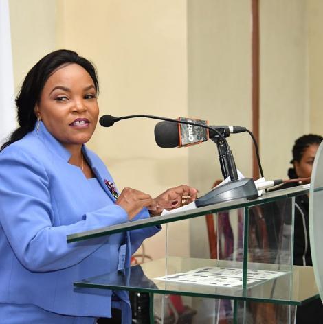 Kirinyaga Woman Representative Purity Ngirici pictured addressing a forum on March 5, 2020