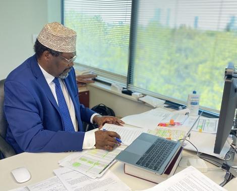 A Photo of Miguna Miguna in His Office in Canada.