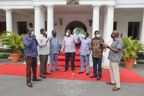 President Uhuru Kenyatta meets ODM leader, Raila Odinga, and One Kenya Alliance principals, Moses Wetangula, Musalia Mudavadi, Kalonzo Musyoka, and Gideon Moi.