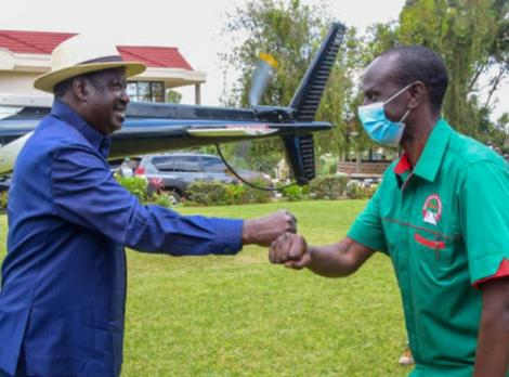 Raila Odinga (Right) pictured at Wilson Sossion's home on September 19, 2020.