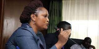 Photo of Registrar of Political Parties Ms Ann Njeri Nderitu speaking during a meeting.