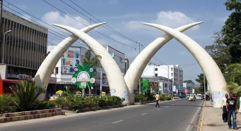 Landmark tusks in Mombasa