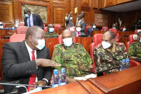 Interior CS Fred Matiang'i escorted by top cops to Parliament on Wednesday, September 1, 2021