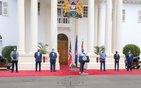 President Uhuru Kenyatta speaking at State House on May 23, 2020