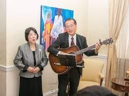 Japanese ambassador to Kenya Ryoichi Horie with his wife Yuko Horie performing at a past event