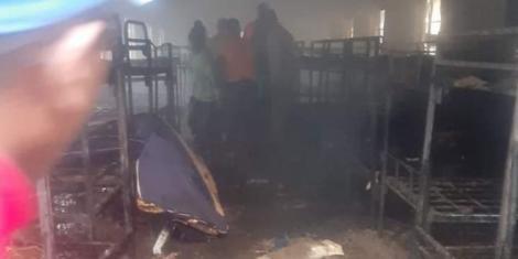A razed dormitory at Kairi Boys High School in Gatundu North